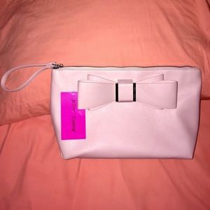 Betsey Johnson Bow Wristlet Cosmetic Bag in Blush